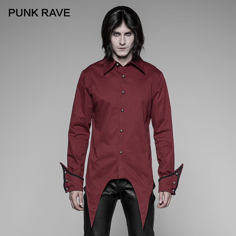 PUNK RAVE New Gothic Simple Shirt Cotton Fabric Shirts Men Party Black Red Colours Personality Man Casual Fashion Shirt
