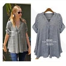 Thin grid code shows the summer jacket fat mm big yards short sleeve shirt size summer style women shirt womens summer shirts