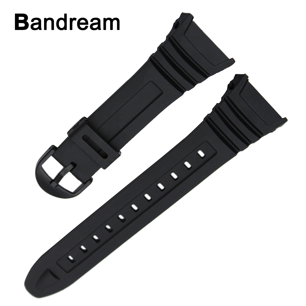 Silicone Rubber Watchband 28mm for Casio W-96h Sports Replacement Band Electronic Watch Strap Soft Resin Wrist Bracelet Black