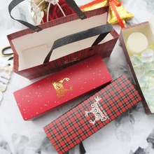 new 21.5*7*5cm 10pcs Christmas gold elk lattice Paper Box as Macarons cookie chocolate Birthday Party Gifts keep Packaging