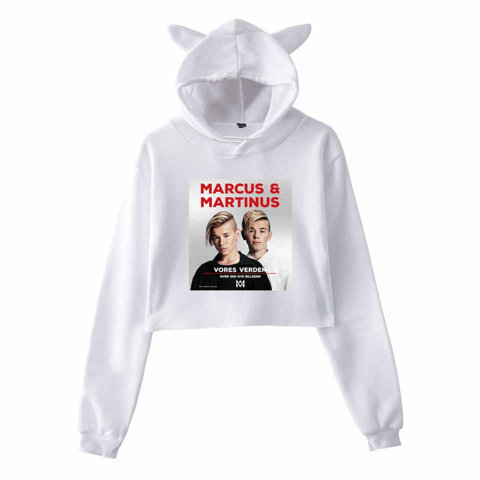 83fa22349c9 ... Hot Crop Top Hoodies MARCUS & MARTINUS Hip Hop Women Cat Hooded Hoodie  Sweatshirt Pullover Tops ...