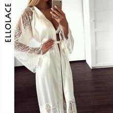 Ellolace pijamas de renda mulheres manga longa sexy seda nighty grande casa roupas com cinto robe define nightie atacado