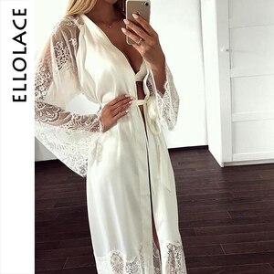Image 1 - Ellolace vêtements de nuit dentelle chemises de nuit femmes à manches longues Sexy soie nuisette grande maison vêtements avec ceinture Robe ensembles nuisette en gros