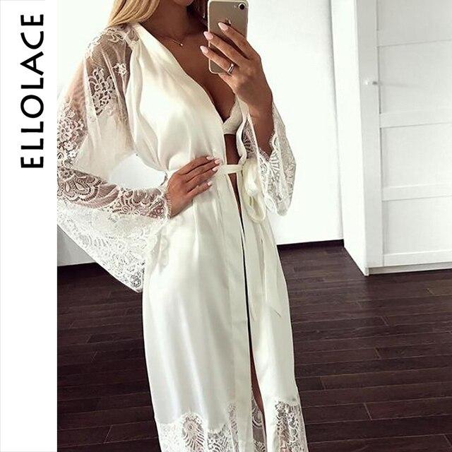 Ellolace vêtements de nuit dentelle chemises de nuit femmes à manches longues Sexy soie nuisette grande maison vêtements avec ceinture Robe ensembles nuisette en gros