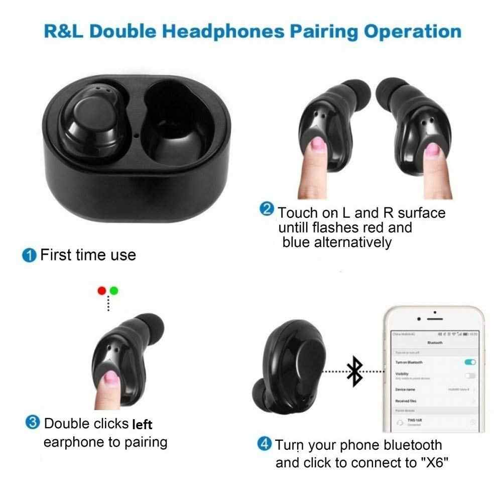 Mini X6 TWS Bluetooth 5 0 Wireless Headphones Stereo Sport Touch Earphone  IPX5 Waterproof Handsfree Headset Earbuds for iphone x