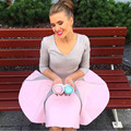 2017 Cute Woman Ball Gown Fashion Patchwork Pink Ladies Full Sleeve Woman Dresses Elegant Party Wear Woman Dresses Vestidos Robe