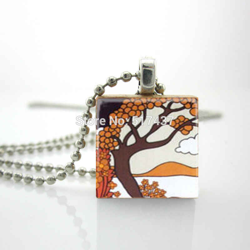 2015 New Secret Island Necklace Scrabble Tile Pendant with Ball Chain Included Gifts For Friends