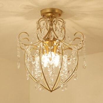 Modern Ceiling Lamps LED Golden Crystal Circle Ring Ceiling Lamp Led chandelier lamps Bedroom Light Aisle Light Corridor Light