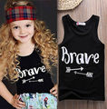 Babys Girls T-shirt Black sleeveless Printed vest T-shirt Kids Summer Girls Tops Tee Children T-shirt