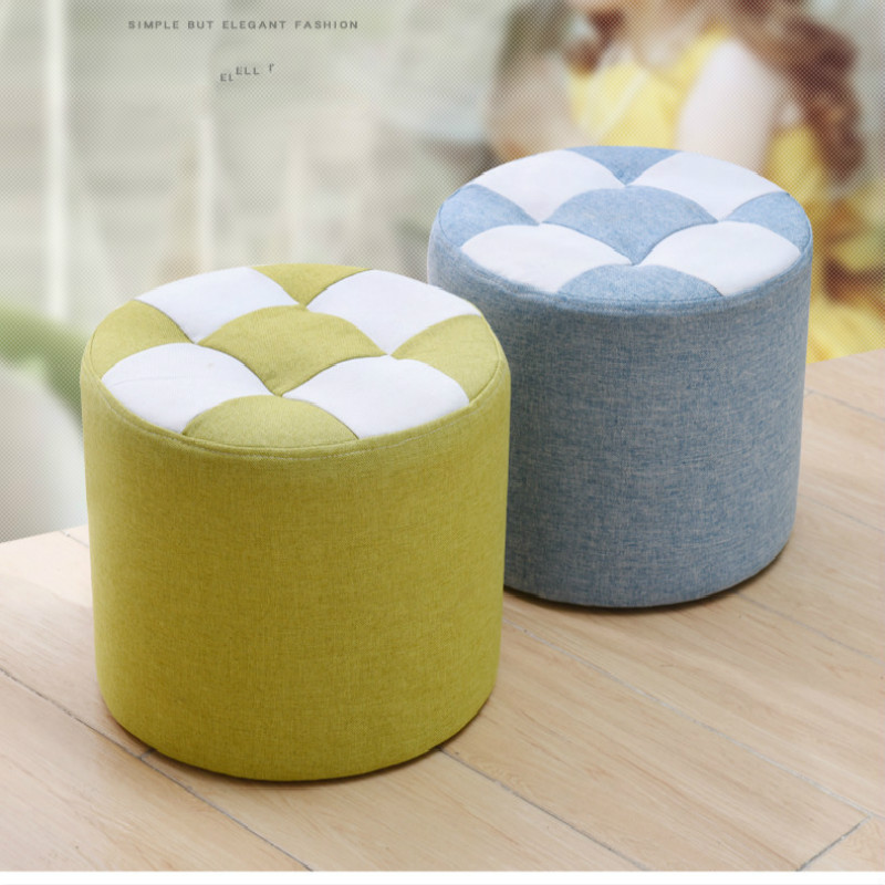 European Style Stool Solid Wood Home Small Square Stool Ottoman Sofa Living Room Creative Bench Short Stool Pouf Taburete