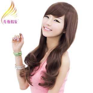 Wig women's wifing long curly hair wig girls wig long curly hair oblique bangs ,