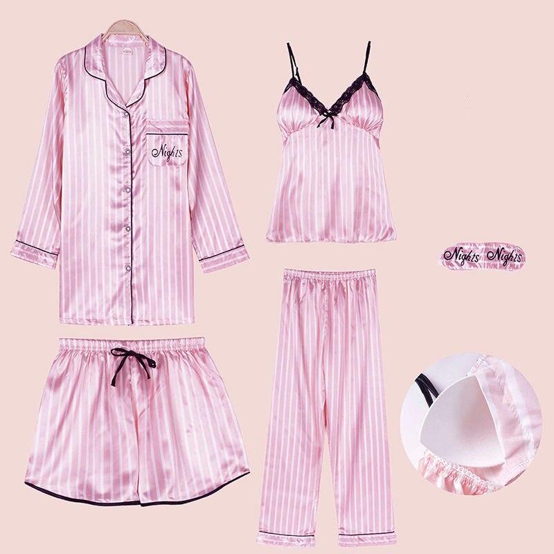 Sexy Striped Silk Pajamas Set Women Lace Pyjamas Summer Rayon Shorts Shirt Stitch Lingerie Home Mom Sleepwear