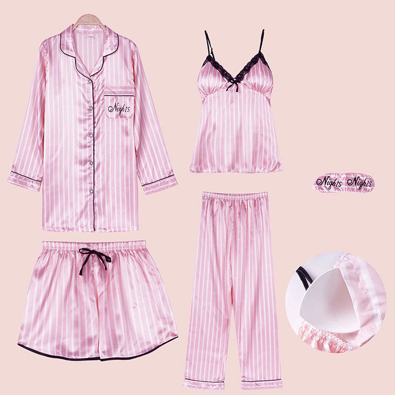 Sexy Striped Silk   Pajamas     Set   Women Lace Pyjamas Summer Rayon Shorts Shirt Stitch Lingerie Home Mom Sleepwear