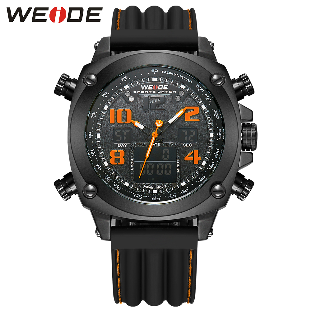 WEIDE Luxury Brand Military Men Quartz Analog LCD Digital Waterproof Silicone Strap Alarm Clock Multi-function Sports Watches weide brand watches men 3atm waterproof analog digital quartz sports lcd high quality leather strap luxury watch stainless steel