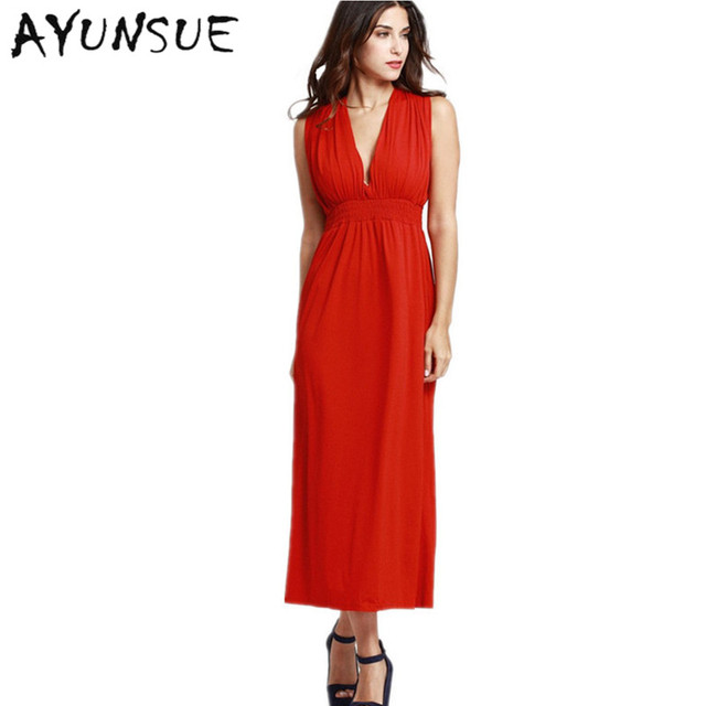 b5f1f0737c0 2018 Summer Sundress Women Long Maxi Dress V Neck Sexy Black Red Bohemia  beach dress Party Night Vestido Plus Size WD0204