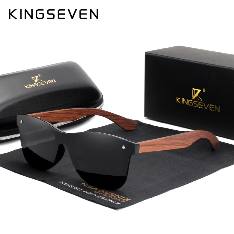 KINGSEVEN Natural Wooden Sunglasses Men Polarized Fashion Sun Glasses Original Wood Oculos de sol masculino 4