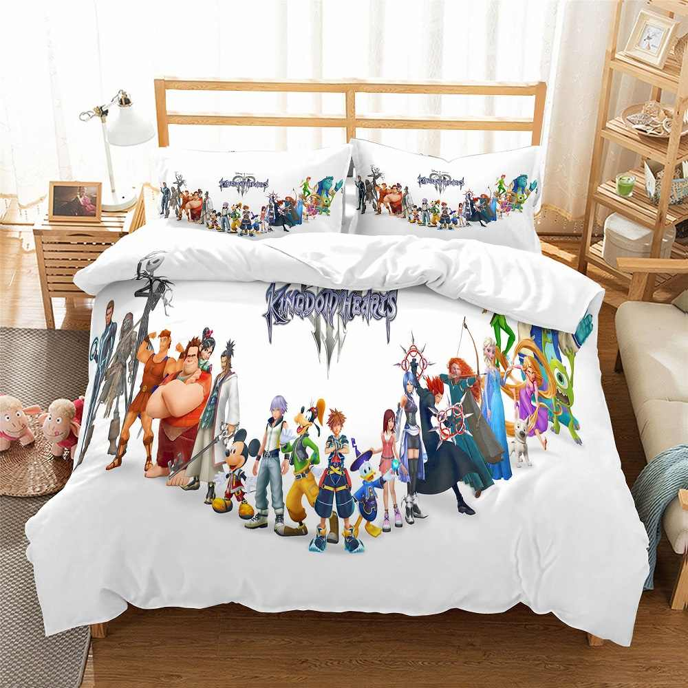 Kindom Heart White Bedding Set 3D Print Duvet Cover Set 3PCS with 2 Pillowcase Luxury Microfiber Bed Linen Set AU/EU/US Bed Set