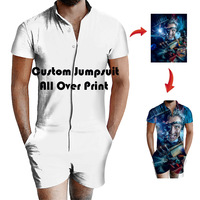 Summer Customize Logo Design Overalls Mens Rompers 3D DIY Printing Casual Jumpsuit Male Beach Sets One piece Outfits Plus Size P