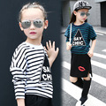 2016 autumn girls striped long sleeve t-shirt &Baby Girls T-Shirt 9&10&11 Age girl clothes  o-neck kids  teenage girl clothes