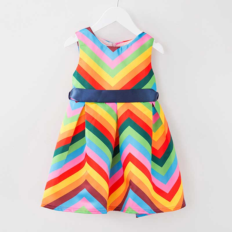 2016 Children Clothing Striped Girls Clothes Rainbow Dress Toddler ...