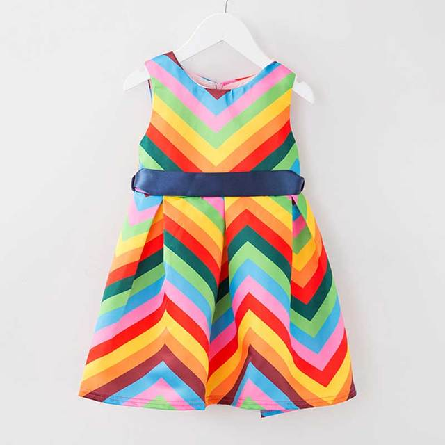 6b7af72bc8281 2016 Children Clothing Striped Girls Clothes Rainbow Dress Toddler Summer  Kids Girl Infant Party Holiday Dresses
