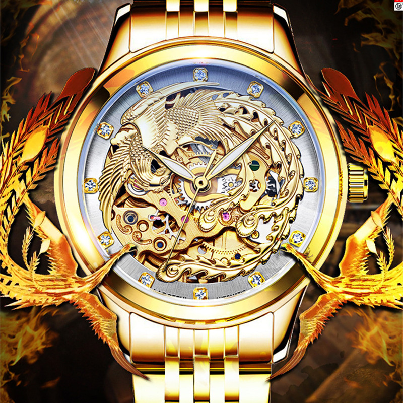 reloj hombre automatic mechanical hollow steel gold watches men clock carved alloy women watch Wholesale Romantic