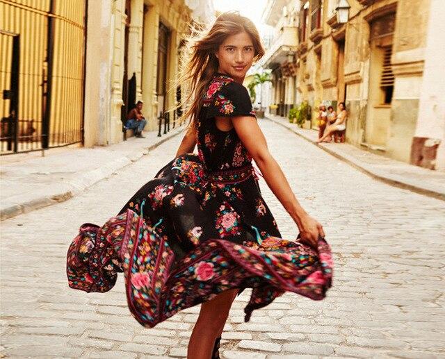 Лето 2017 г. бохо платье etehnic Sexy печати Ретро Винтаж платье с бахромой пляжное платье bohemain Hippie платье халат vstidos Mujer