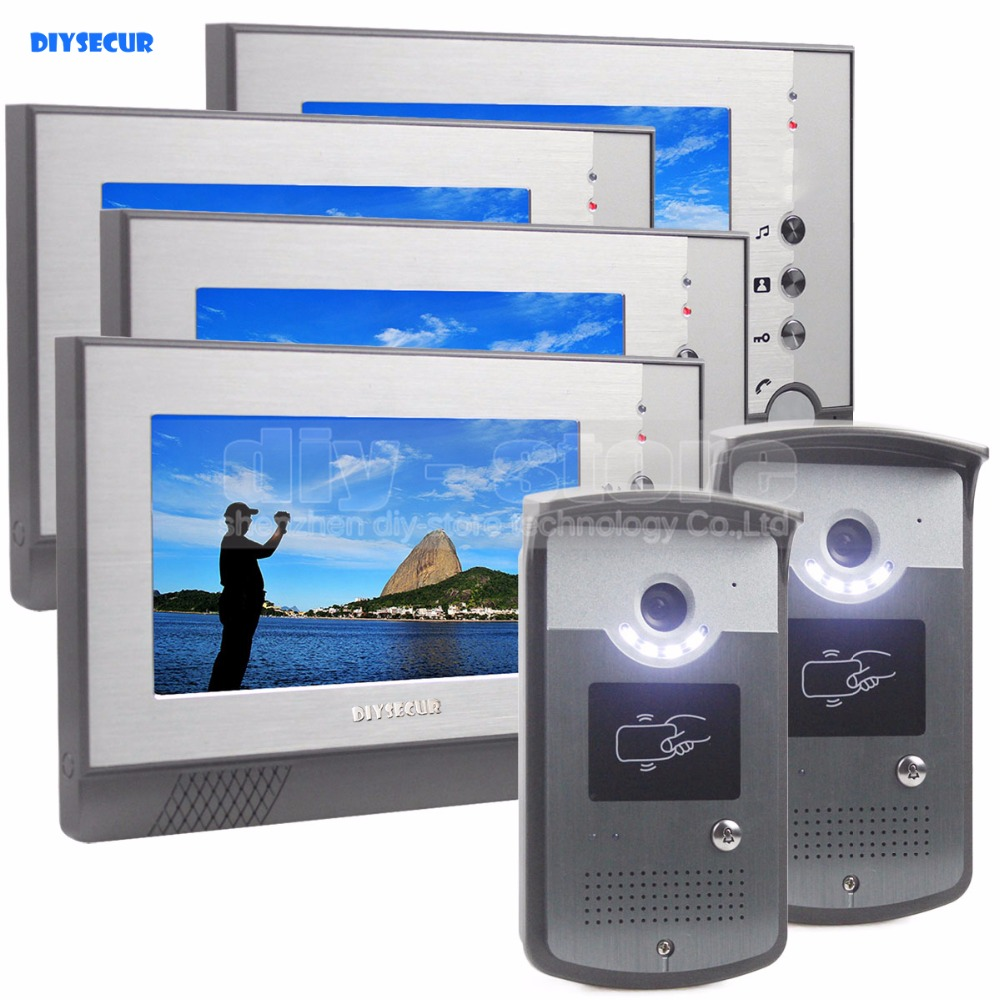 DIYSECUR 7inch Video Door Phone LED Night Vision RFID Unlocking Home  Security Intercom System 4 Monitor   2 Camera