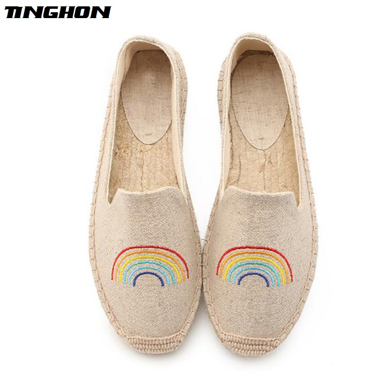 TINGHON Fashion Women Ladies Espadrille Shoes Canvas Embroidery rainbow Rome Ankle Strap Hemps Flats Shoes in Women 39 s Flats from Shoes