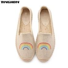 TINGHON Fashion Women Ladies Espadrille Shoes Canvas Embroidery rainbow Rome Ankle Strap Hemps Flats