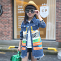 New denim jacket and coat for 10 years girls 2016 autumn Fashion pattern letter print long coats for girl teenage