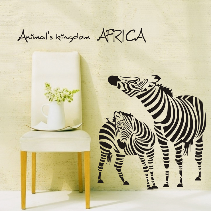 Wholesale and Retail Animal Zebra Wall Stickers <font><b>African</b></font> Animal Wall Decals Bedroom Zebra Wall Covering Wall Paper <font><b>Home</b></font> <font><b>Decor</b></font>