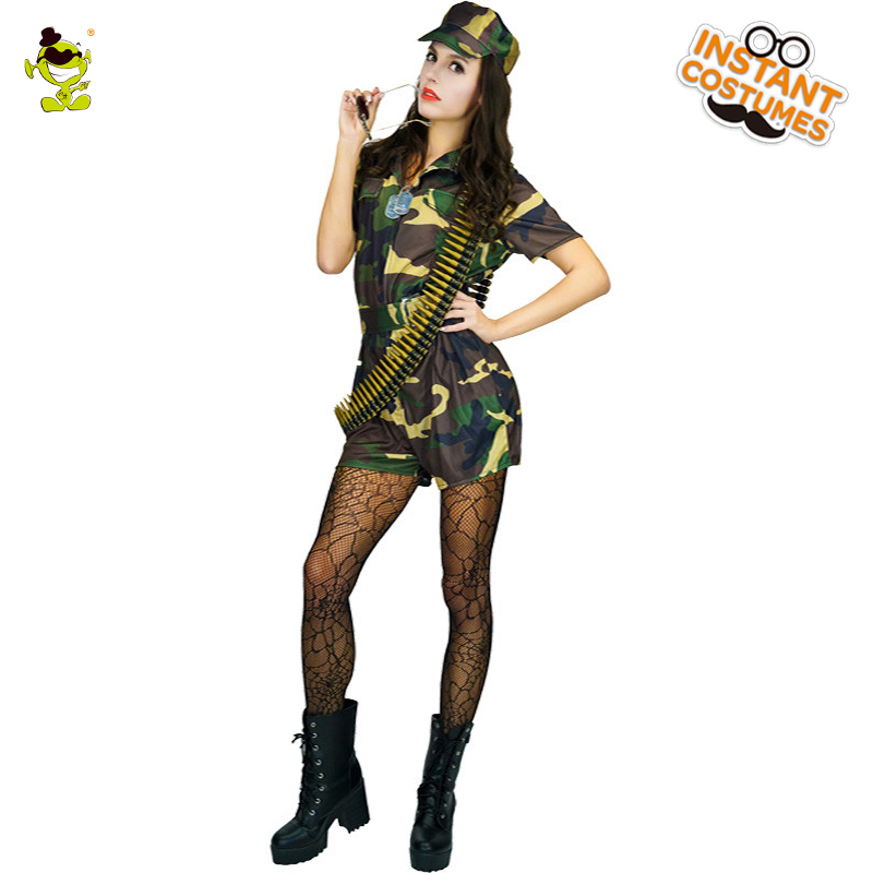 Adult Deluxe Woman Paratrooper Costume Carnival Role Play <font><b>Sexy</b></font> <font><b>Army</b></font> Outfits for Women <font><b>Cosplay</b></font> Fancy Dress Top Gun Lady Costumes image
