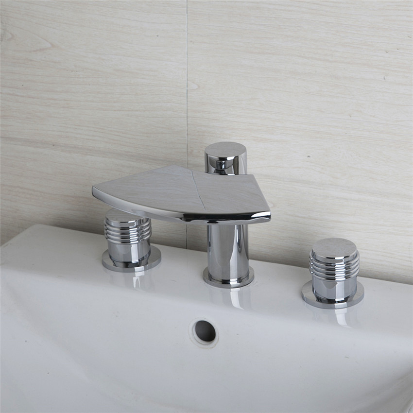 Bathtub waterfall Faucet 3 Pieces 2 Lever Chrome Deck Mounted Bathtub Shower Bathroom Brass Torneira Faucet,Mixers &Taps free shipping polished chrome finish new wall mounted waterfall bathroom bathtub handheld shower tap mixer faucet yt 5333