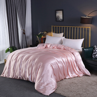 1Pcs Duvet cover Solid color Ice silk Single Double Queen King Quilt Cover Advanced Home Hotel comforter cover 20 colors #s