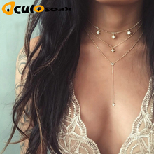 2019 Hot Boho Star Crystal Multi Layer Pendant Necklace Women geometry Necklaces Vintage Fashion Collar Costume Jewelry