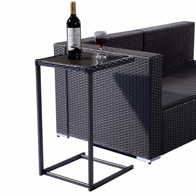 Brown Coffee Tray Side Sofa End Table Rattan PE Wicker Square Glass  Furniture HW52036
