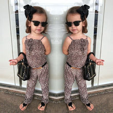 2016 New Girls Kids Clothing Sets Fashion Party Leopard Romper Playsuit Jumpsuit Pants + Belt New Fashion 2 3 4 5 6 7 Years