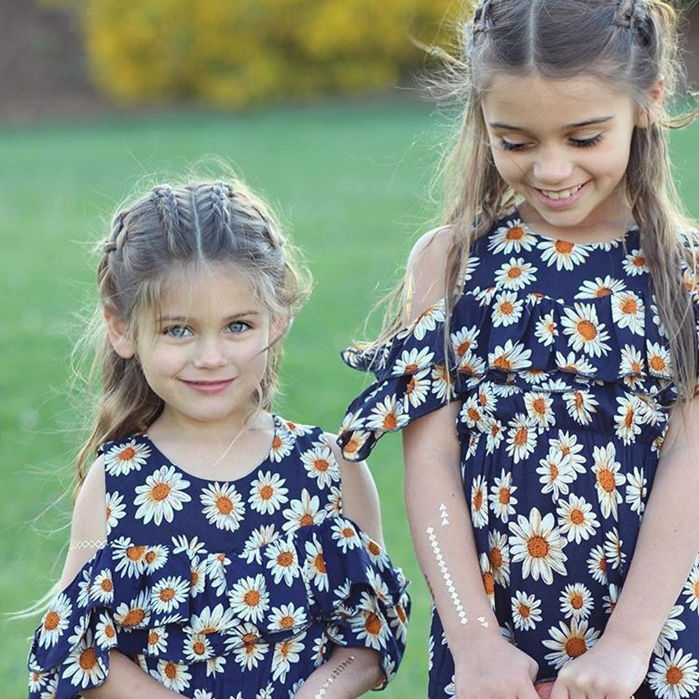 Blue Color Hot Cute Kids Baby Girls Flower Print Fold Sleevesless Princess Dresses Outfits High Quality Dropshipping AG30 13