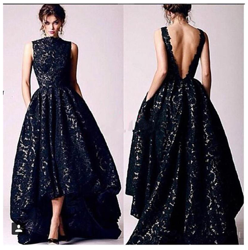 Sexy Formal Evening Dress Black Lace Plus size High Low Evening Party Dresses for women Backless