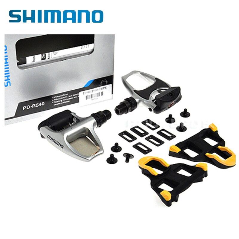 SHIMANO PD-R540 Chrome-moly et En Aluminium Vélo De Route Vélo Vélo Large Plate-Forme Pédales Comprennent SPD SL SM-SH11 Auto- verrouillage Crampons