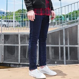 Image 3 - Tiên phong Trại Mới đến màu xanh đậm người đàn ông gầy quần jean thương hiệu quần áo thời trang chân quần nam hàng đầu chất lượng denim quần ANZ707023