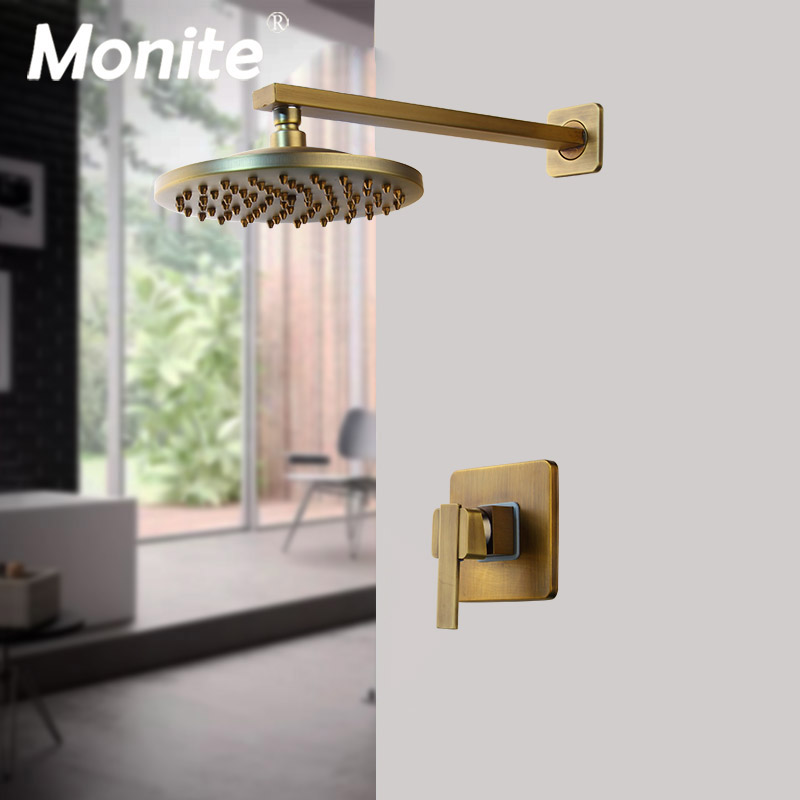 Monite 8 inch Antique Brass Round Wall Mounted Bathroom Rainfall shower faucet Sets head hand shower