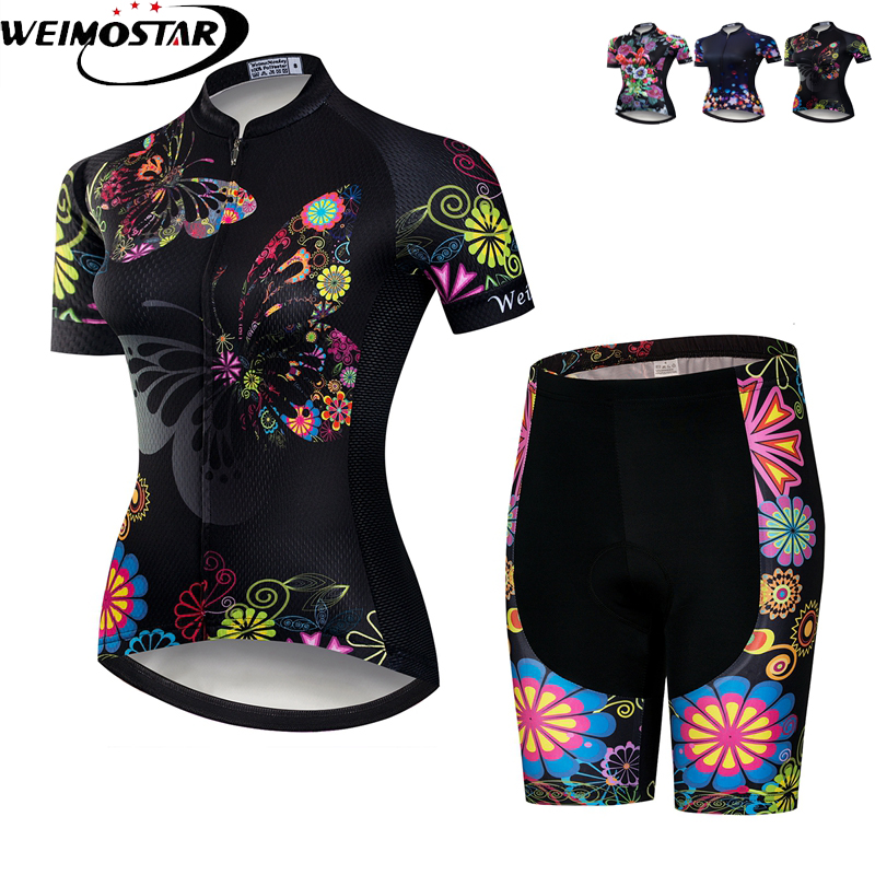 Weimostar Black Cycling Clothing Bike Jersey Women's Set MTB Bicycle clothes team Maillot Cycling Jersey gel bike bib shorts rusuoo k01007 bicycle cycling jersey bib shorts set white black size xl 175 180cm