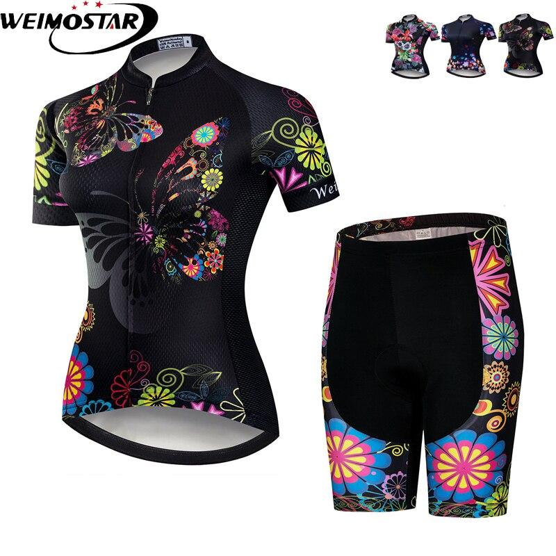 Women Cycling Sports Wear Bike Team Jersey Short Sleeve  Shorts Black