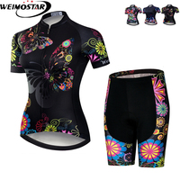 Weimostar Siyah Bisiklet Giyim Bisiklet Jersey kadın Seti MTB Bisiklet kıyafetleri team Maillot Bisiklet Jersey jel bisiklet önlüğü şort