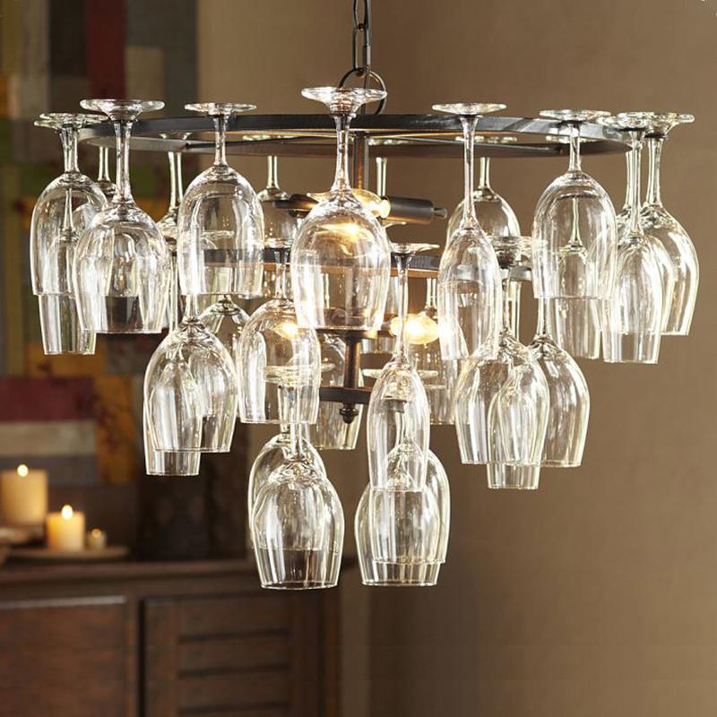 Art Deco Goblet Pendant Light Lamp Retro Red Wine Goblet Pendant lights Hanging Lamp For Hotel Bar Restaurant Glass Lamp Bracket (12)