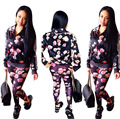 2 Piece Set Women 2016 Hot Autumn Winter Fashion Flower Printed Tracksuits Sets Sexy Club Party (Sweatshirt + Pant) Sweat suits