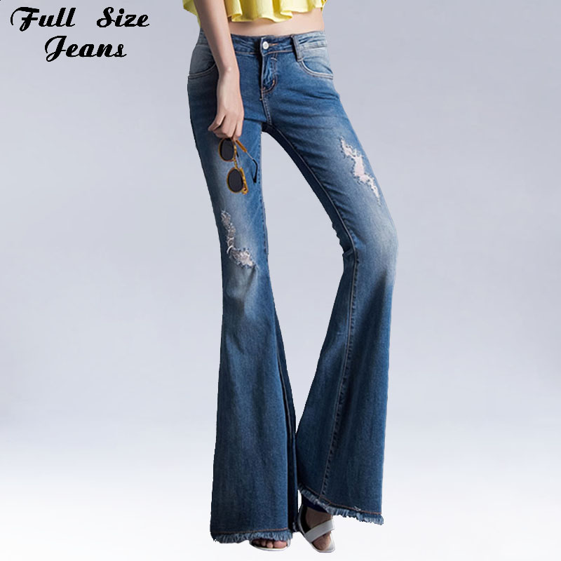 Aliexpress.com : Buy Ripped Flare Jeans With Holes Slim Stretch Pants With  Wide Leg Light Blue Distressed Jeans Bell Bottom Boot Cuts Skinny Jeans  from ... - Aliexpress.com : Buy Ripped Flare Jeans With Holes Slim Stretch