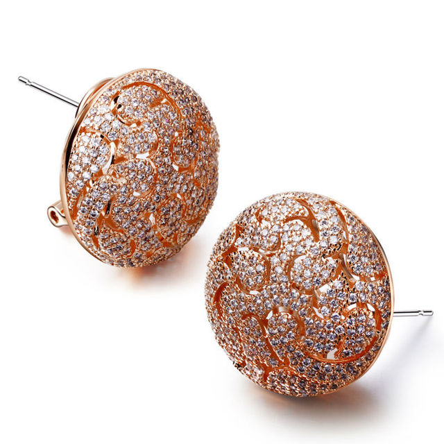 Elegant Jewellery Big Round shape Filigree Pattern with Stones Fashion jewelry Wedding Dress Accessory Rose gold Stud earrings